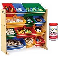 Tot Tutors Kids 12 Plastic Bin Toy Storage Organizer in Primary with Antibacterial Hand Wipes