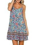 Womens Boho Beach Dress - Floral Spaghetti Strap Sleeveless V Neck A line Swing Casual Sundress Beachwear Green