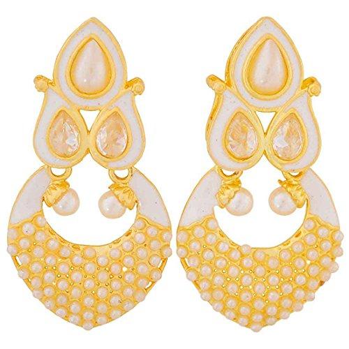 Maayra Pearls Meenakari Earrings White Dangler Drop Wedding Festival Jewellery by Maayra