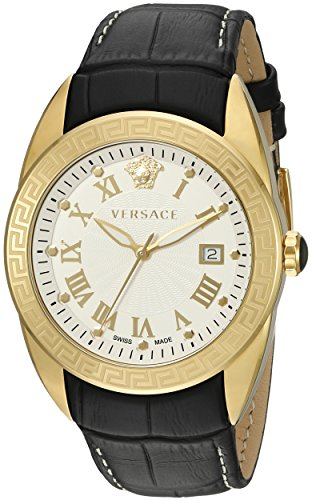 Versace-Mens-VFE130015-V-SPORT-Gold-Tone-Stainless-Steel-Watch-With-Black-Leather-Band