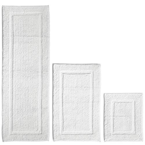 (mDesign 100% Cotton Luxury Spa Mat Rugs, Plush Water Absorbent, Decorative Border - for Bathroom Vanity, Bathtub/Shower, Machine Washable - Runner, Standard & Small Rug - Set of 3 - White)