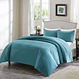 quilts in blue - Comfort Spaces - Kienna Quilt Mini Set - 2 Piece - Teal - Stitched Quilt Pattern - Twin/Twin XL size, includes 1 Quilt, 1 Sham