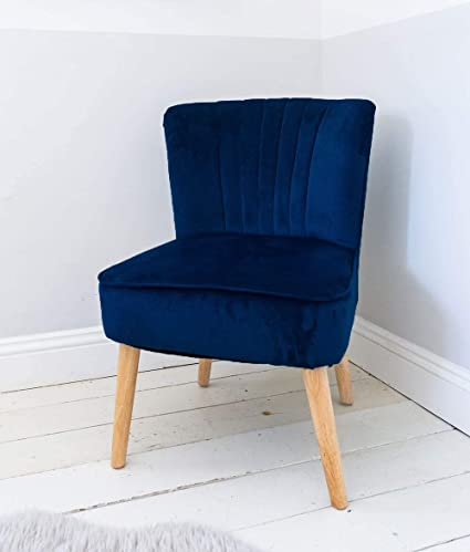 Velvet Oyster Occasional Chair Navy Fluted Retro Blue Bedroom Living Room Seat