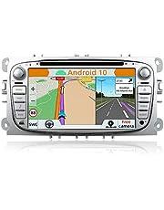 YUNTX Android 10 podwójne din samochodowe stereo pasuje do Ford Focus/Mondeo/S-Max/Connect (2008-2011) radioodtwarzacza z bezpłatną tylną kamerą i Canbus 2 GB/32 GB Bluetooth wsparcie GPS/DAB+/WIFI/AUX/USB/SD