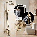 Shower mixer Antique Brass Shower Faucet Set Shower Head Hand Shower Sprayer Wall Mounted Mixer Tap