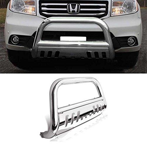 Bull Bar Skid Plate Front Push Bumper Grille Guard Stainless Steel Chrome for 2009-2015 Honda Pilot