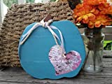 These wooden pumpkins are hand cut and sanded by me in my workshop. Once I round it out, I hand paint it. This one is in a medium teal blue with a heart made out of high quality printed paper. This paper has whites and shades of pinks and pur...