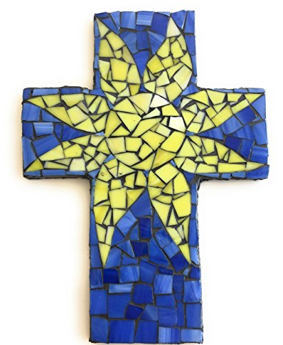 Mosaic Sun Wall Decor Cross,  Yellow and Blue Stained glass