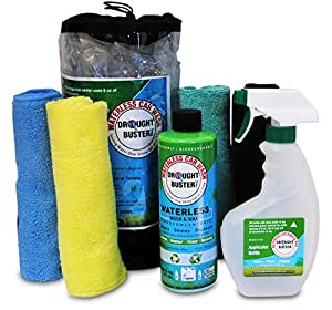 Waterless Car Wash & Wax by Drought Buster, Cleans Polishes Protects Car with Ounces of Water, Easy-to-use, safe detailing system Biodegradable (16 oz Kit)