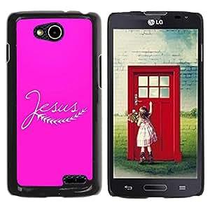 PC/Aluminum Funda Carcasa protectora para LG OPTIMUS L90 / D415 BIBLE Jesus - Pink / JUSTGO PHONE PROTECTOR