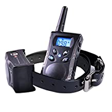 Hilifeone Dog Training Collar, Waterproof and Rechargeable Obedience Trainer with Remote 500yd, Vibration, Static Shock, Warning Beep and LED Light Button, Bark Control Leather Collar for Small, Medium and Large Dogs