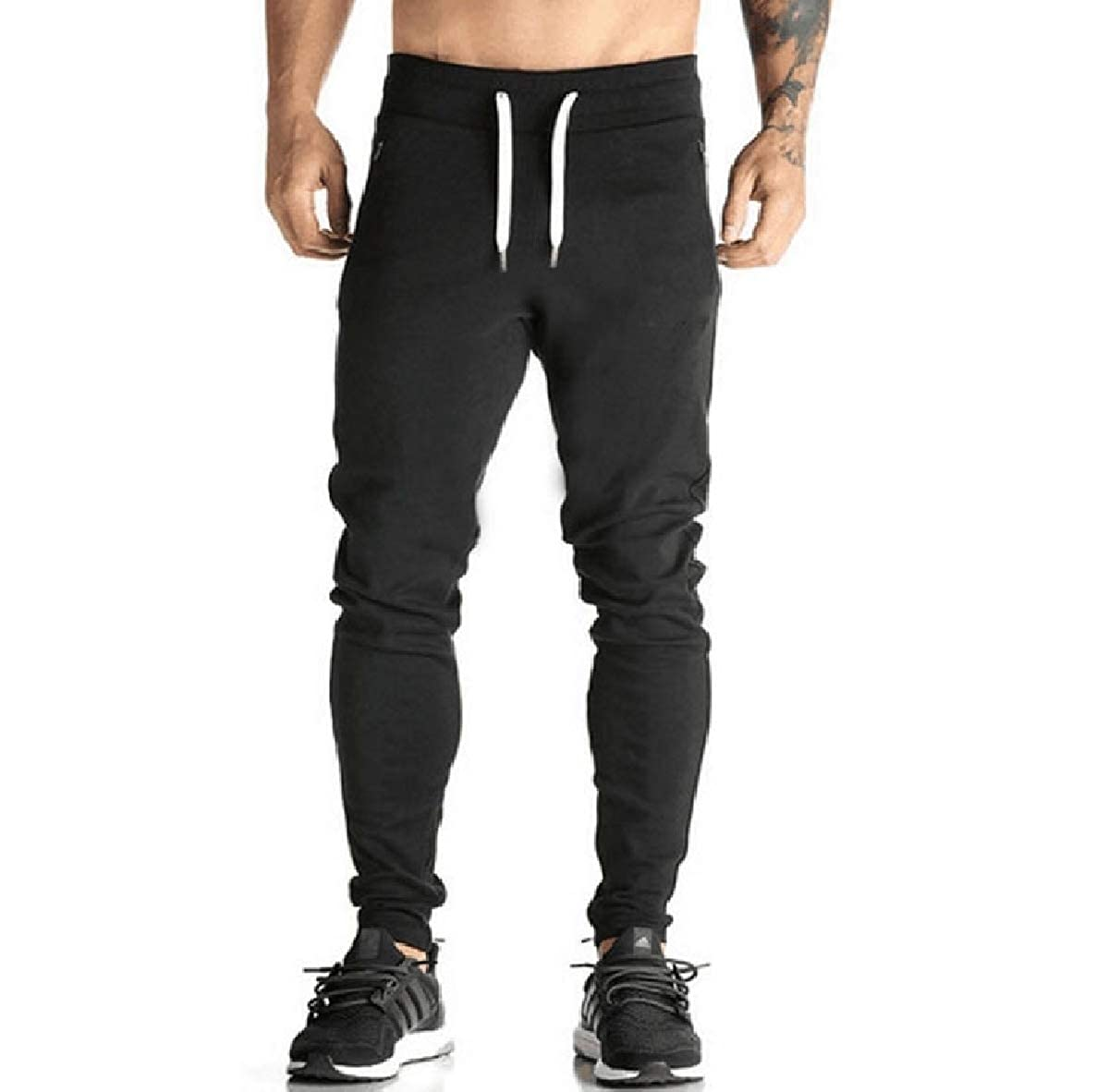 WillingStart Mens Leisure Relaxed-Fit Fitness Runnung Athletic Pure Color Jogger Pant
