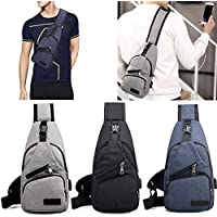 fnemo Sac à Dos Rechargeable en Toile pour Hommes, Petit Sac à Dos USB pour Hommes Sacs portés épaule