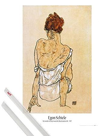 MDF 1917 - Donna Seduta di Schiena 91 x 61cm 1art1 Egon Schiele Poster Stampa e Cornice