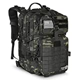 LeisonTac Tactical Backpack Military ISO Standard for Hunting Hiking Travel & Camping | Heavy Duty Nylon Stitching Water Resistant Small Rucksack with Hydration Bladder Compartment (Black Multicam)
