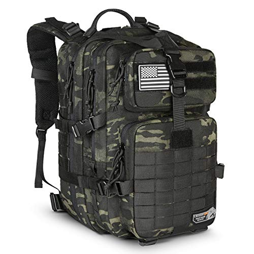 LeisonTac Tactical Backpack Military ISO Standard for Hunting Hiking Travel & Camping | Heavy Duty Nylon Stitching Water Resistant Small Rucksack with Hydration Bladder Compartment (Black Multicam) ()