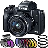 Canon EOS M50 Mirrorless Digital Camera with 15-45mm Lens with 6 Piece Graduated Color Filter Set, HD Macro Close Up Lenses, 3 Piece Multi Coated HD Filter Kit, (International Version No Warranty)