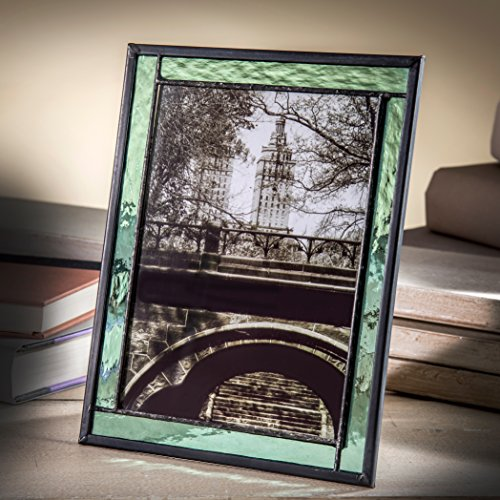 J Devlin Pic 364-57HV 5x7 Picture Frame Green Stained Glass Photo Easel Back Vertical or Horizontal
