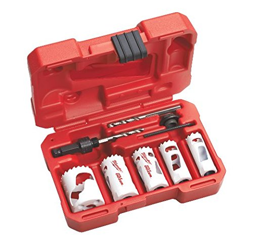 8 Piece Plumbers Hole Saw - Milwaukee 49-22-4138 8-Piece Compact Plumbers Hole Dozer Hole Saw Kit