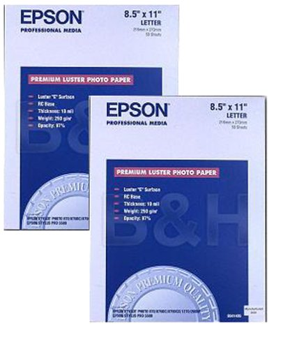 Epson Premium Luster Photo Paper Twin Pack (8.5x11, 100 Sheets, S041405-Bundle) (Epson Photo Paper 100)