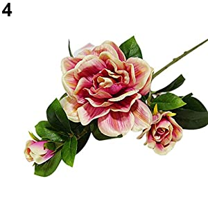 XKSIKjian's Artificial Plants, 1Pc 3 Heads Fashion Artificial Gardenia Decor Flowers, Fakeflowers Bouquet Wedding Party Home Decoration - Red 1