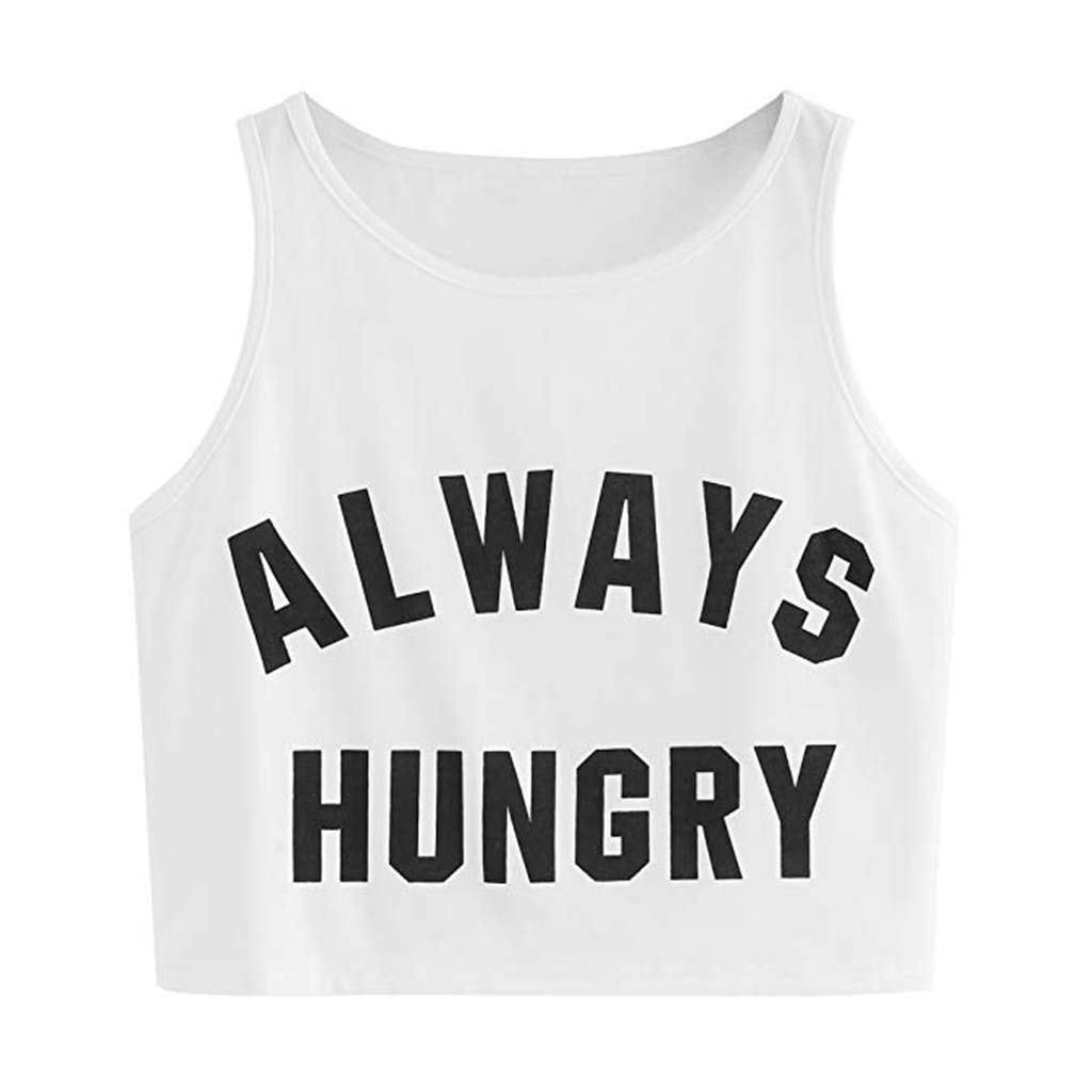 Uscharm Letter Print Crop Tops Womens Solid Color Sleeveless Blouse Fashion Top O-Neck Sling Vest Tanks (White, L)