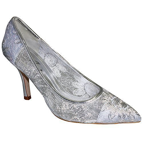 cf651c5e75d Ladies Pointed Toe Low Heel Floral Lace Effect Women s Silver Shoes Heels   Silver