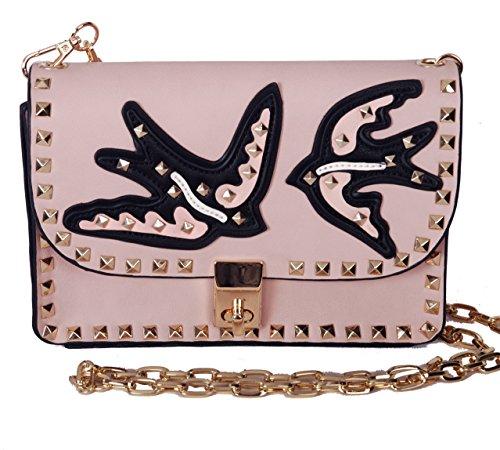 Inzi Valentino Rockstud Inspired Birds Shoulder #7004 - Pink Valentino