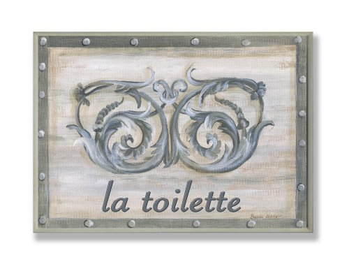 La Toilette Wall Plaque (The Stupell Home Decor Collection La Toilette Grey Double Scroll Bathroom Wall Plaque)