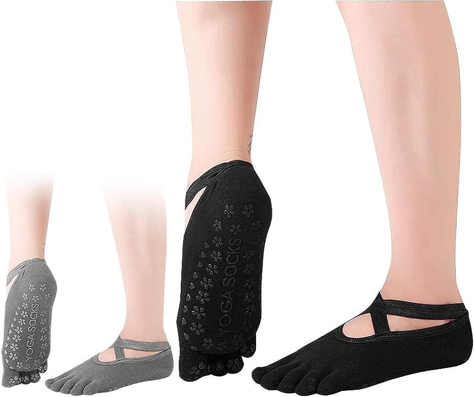 Dokpav 2 pares Calcetines Antideslizantes ABS para Mujer Calcetines de Algodón para Yoga/Fitness/Pilates/Artes Marciales/Danza/Gimnasia/Trampolín ...