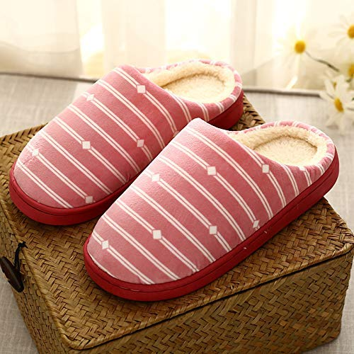 Easyflower Available Perfect Checkered Striped Side line Indoor Home Cotton Slippers Winter Couple Warm Cotton Slippers Cotton Shoes Home Cotton Shoes Color : Pink, Size : 2