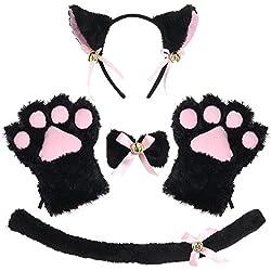 JustinCostume - Juego de Orejas para Disfraz de Gato, diseño de Orejas y Patas, Negro 2, Talla única