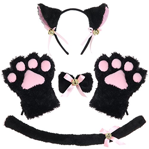 JustinCostume Cat Cosplay Set Ears Tail Collar Paws (Black 2) -