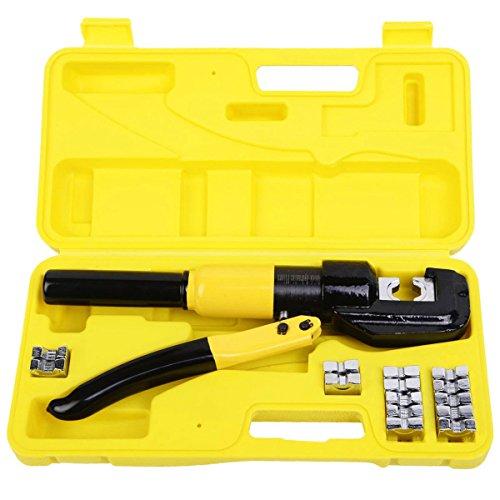 Heavy Duty Lug Crimper (Restonc 10 Ton Hydraulic Wire Battery Cable Lug Terminal Crimper Crimping Tool 9 Dies)