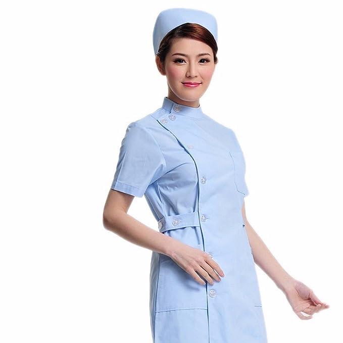 Xuanku Enfermera De Belleza Inicio Servicio De Enfermería Farmacia Collar De Bata Blanca De Manga Corta Vestido De Abertura Lateral: Amazon.es: Ropa y ...