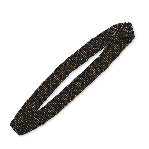 Black and Gold-tone Diamond-pattern Stretch Fashion Headband