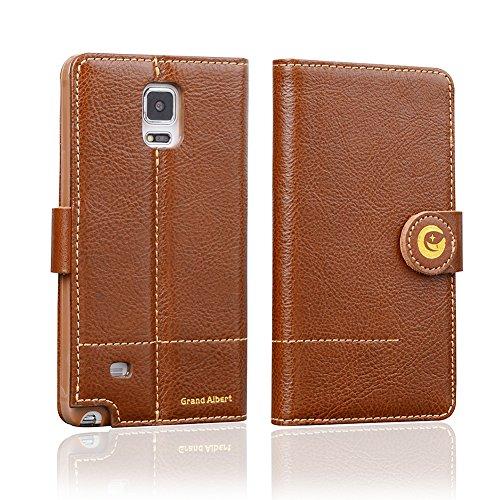 Mossgreg 5 in 1 Genuine Handmade Leather Case for Samsung Galaxy Note4 N910 Case (Note4 Cognac-brown)