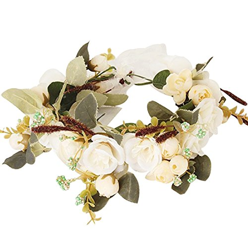 DreamLily Maternity Woodland Photo Shoot Peony Flower Crown Hair Wreath Wedding Headband BC44 (Style 5 Ivory)