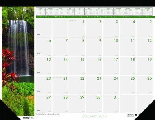 House of Doolittle Earthscapes Waterfalls Compact Desk Pad Calendar 12 Months January 2013 to December 2013, 18.5 x 13-Inches, Recycled (HOD1716) by House of Doolittle ()