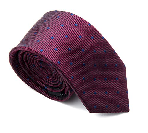 Better Fellow The Helix Men's Fashion Slim Tie - Maroon with Blue Dots - Maroon Dot