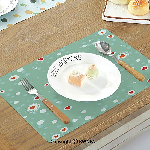 SfeatruMAT Home Pure Linen Table Mats Rustic Home Decor Flower Bouquet in Watercolors Gerbera Daffodil Poppy Daisy Composition Non-Slip Heat Resistant Decor Placemat Multicolor - Gerbera Daisy Base