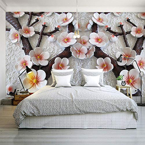 YJFBH Custom Wall Mural Modern Art Wall Painting 3D Stereo Relief Plum Flower Photo Wallpaper Living Room
