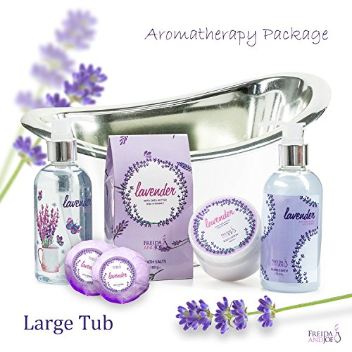 Unwind & Relax with Lavender Large Aromatherapy Bath and Body Spa gift set:2 bath bombs, shower gel. bubble bath , body lotion bath salts