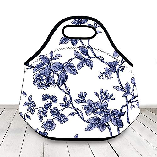 Classic Blue And White Flower Neoprene Lunch Box,Elegant Floral Lunch Bag Insulated for Women Girl Back To School,Gift To Mom,Lunch