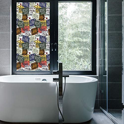 YOLIYANA Frosted Window Film Stained Glass Window Film,USA,Work Well in The Bathroom,Retro American Auto License Plates Utah Washington Rhode,24''x48'' - Utah Stained Glass