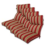 SET OF 4 22W x 44L x 5H Hinge at 24'' Spun Polyester Outdoor CHANNELED REVERSIBLE CHAIR CUSHION in Wickenburg Cherry by Comfort Classics Inc.