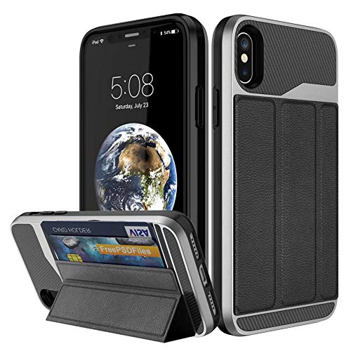 Price comparison product image iPhone XS Max Wallet Case,  iPhone XS Max Wallet Case, SIX-SEVEN [Military Grade Drop Protection] Flip Leather Cover Card Slot w Kick Stand for Apple iPhone XS Max (SPACE GRAY)