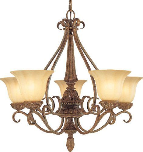 5-64 Capri 3 Light Chestnut Spice Chandelier, 28.25