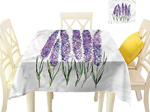 WilliamsDecor Christmas Tablecloth Watercolor Flower,Lavender Bouquet Dinning Table Covers W 50