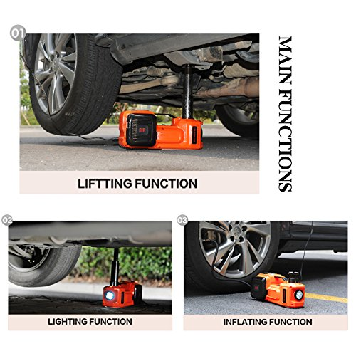 12V DC Electric Hydraulic Floor Jack and Tire Inflator Pump and LED Flashlight 3 in 1 Set Tool Kit ZSJACK 5559006752 E-HEELP 5.0T 11000lb